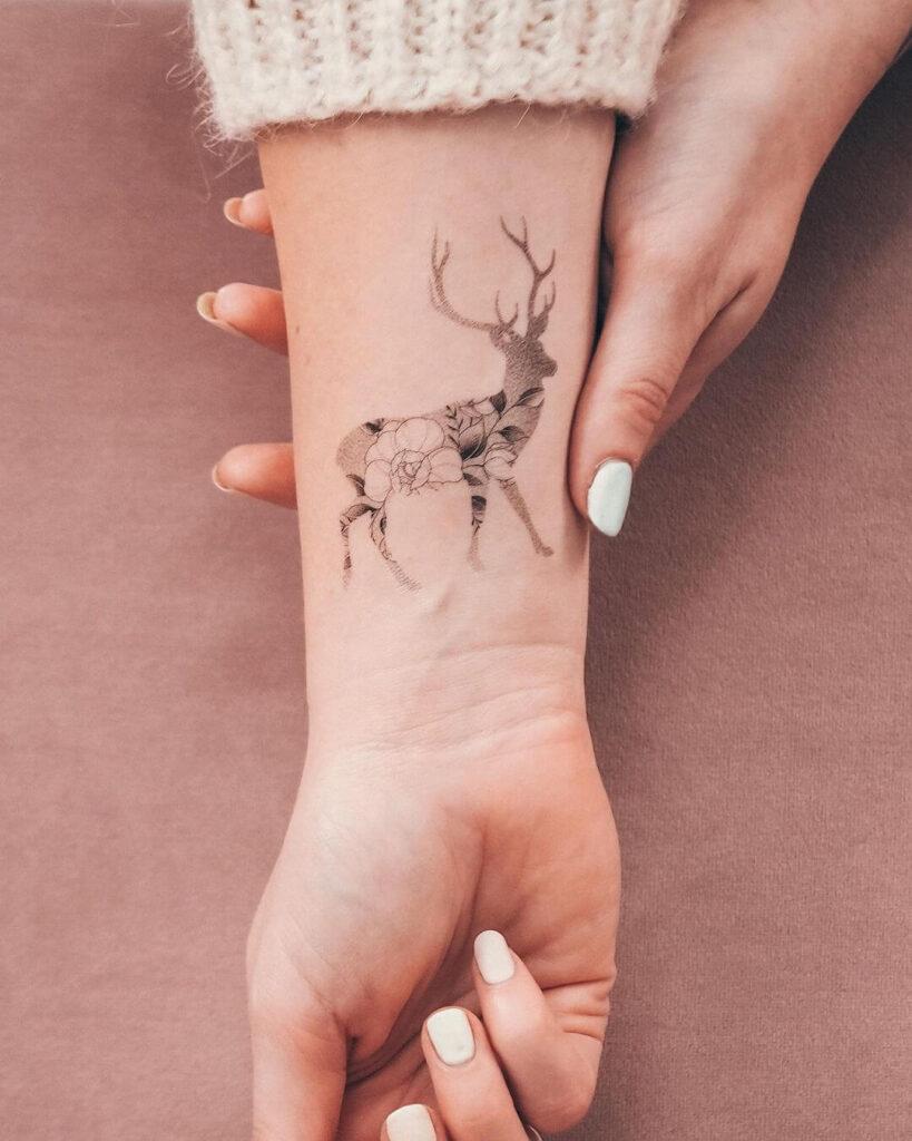 Creative deer tattoo