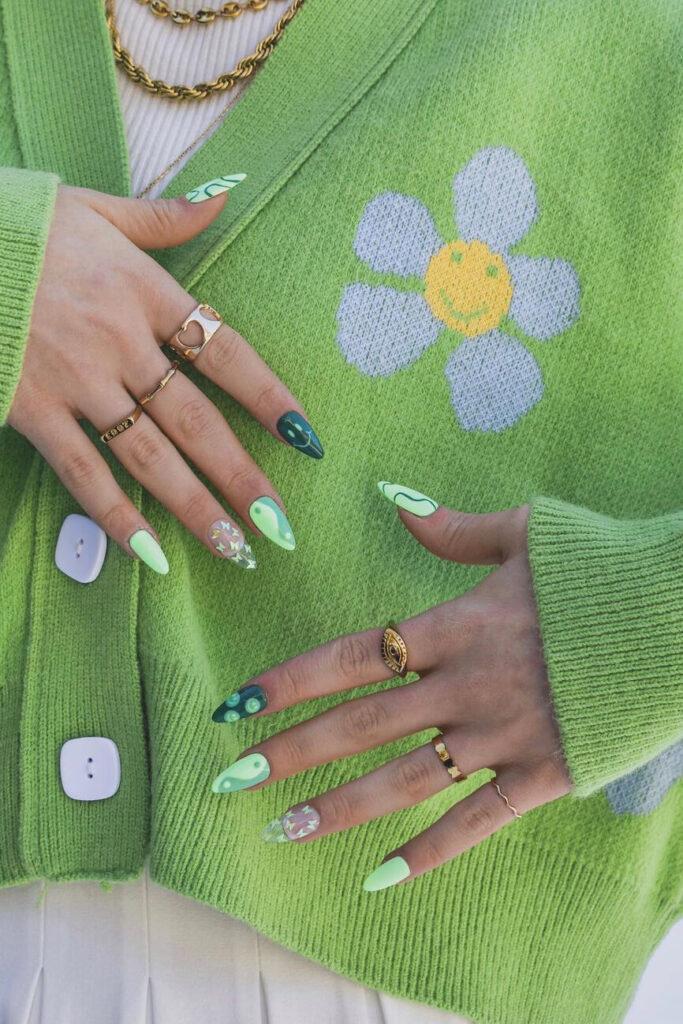 Funny green nails