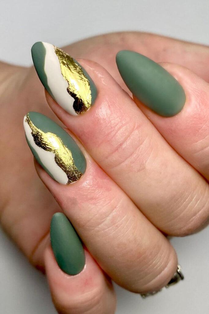 Green gold leaf nails