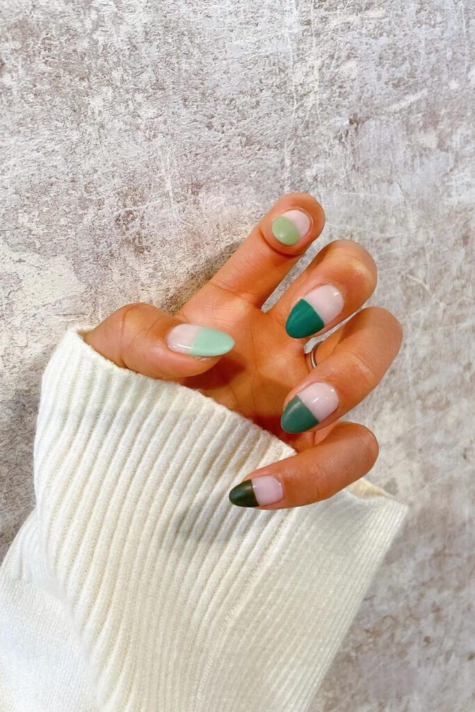 Green gradient nails