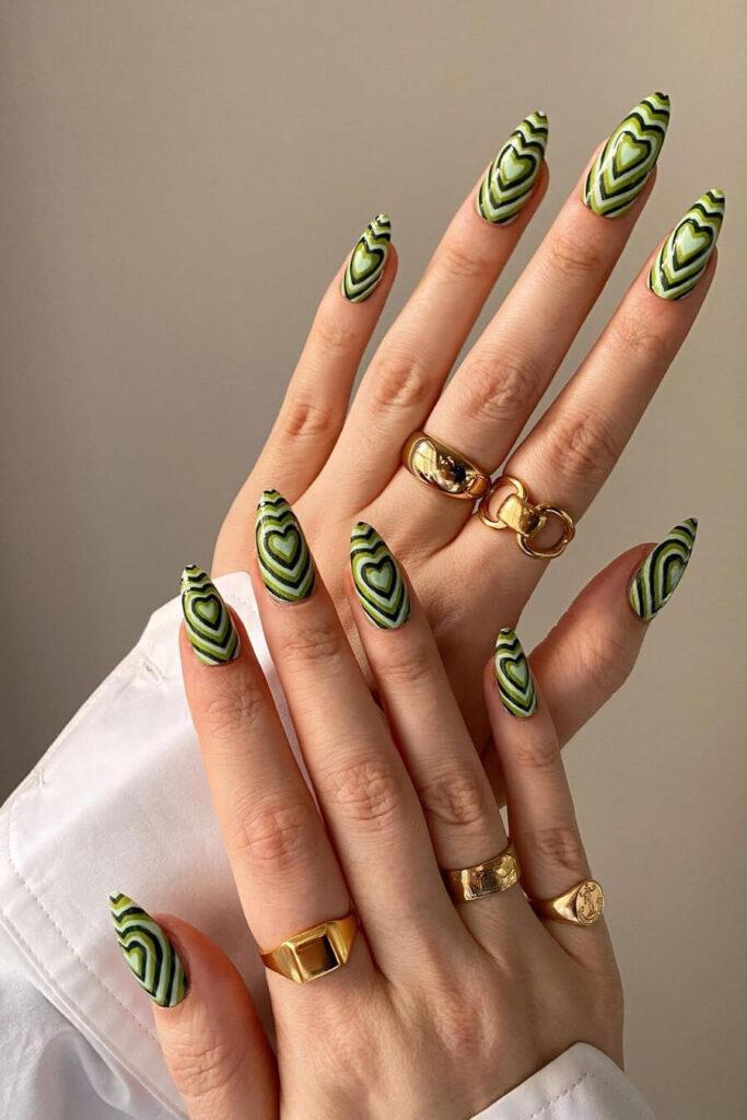 Green heart nails