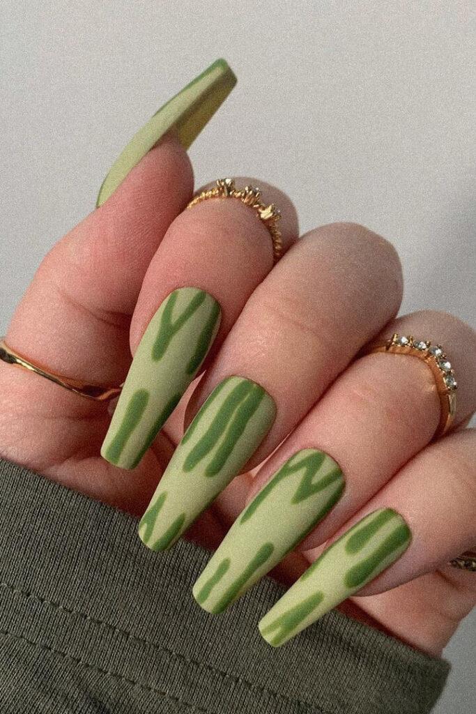 Green long acrylic nails