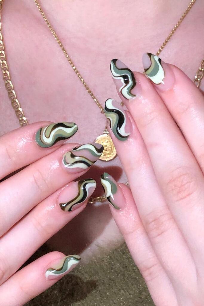 Green wavy nails