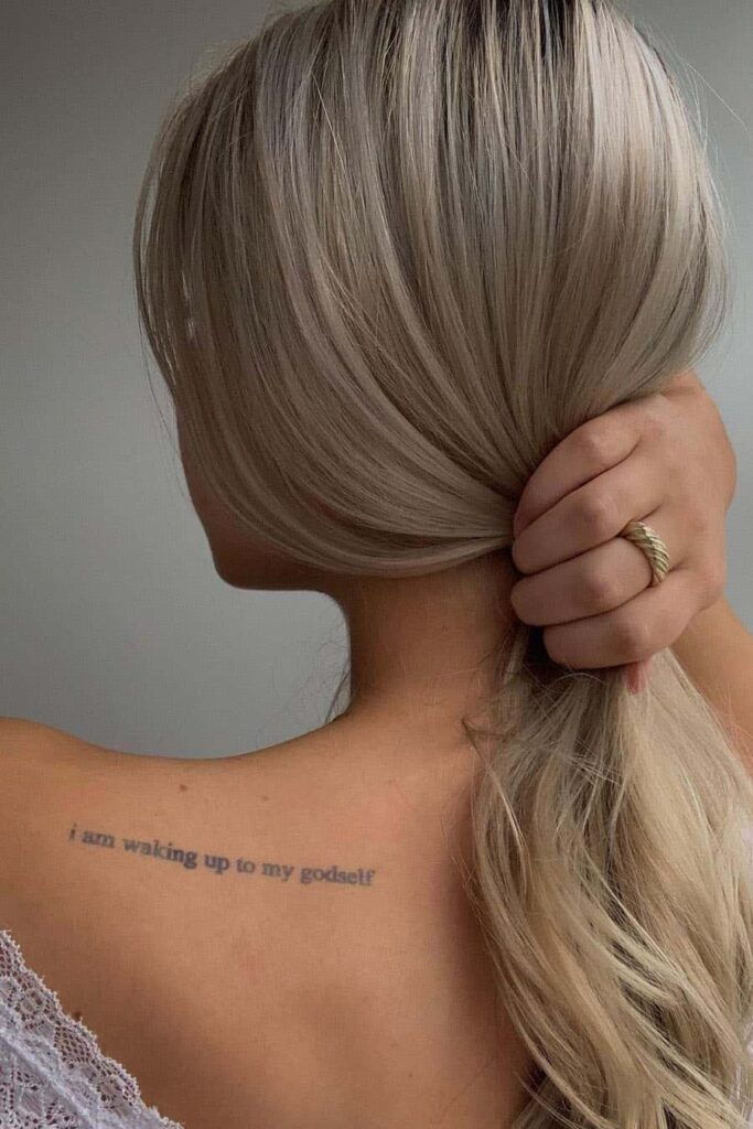quote tattoo on back shoulder
