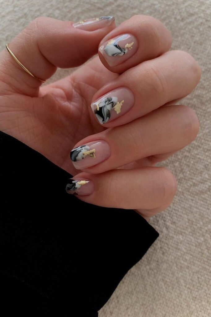 Natural marble square nails