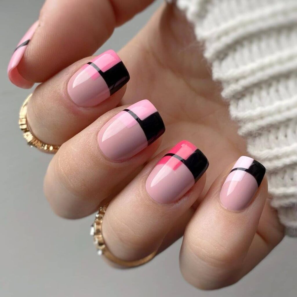 Modern French Square Long Nails