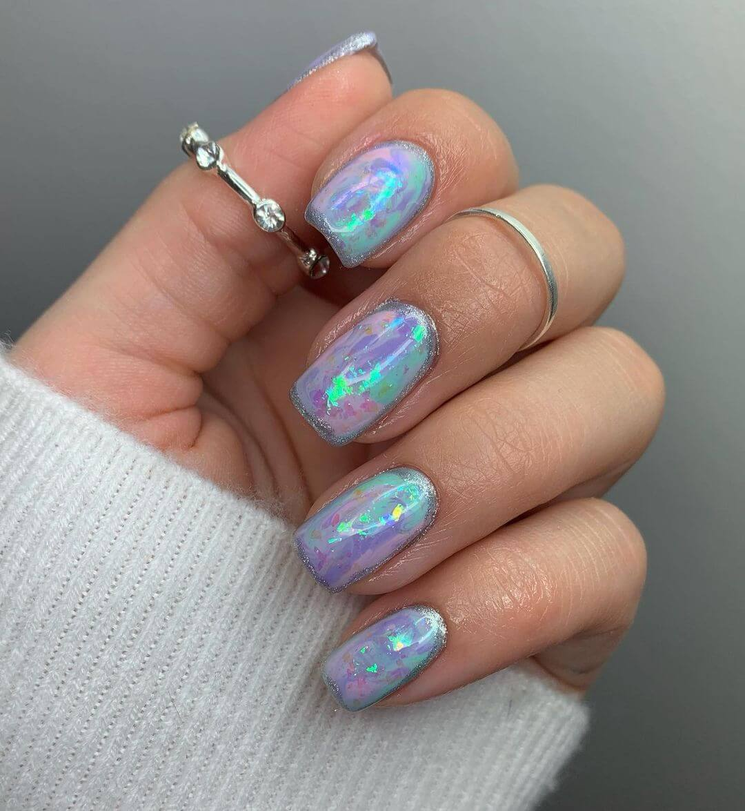 pastel opal Square Nails