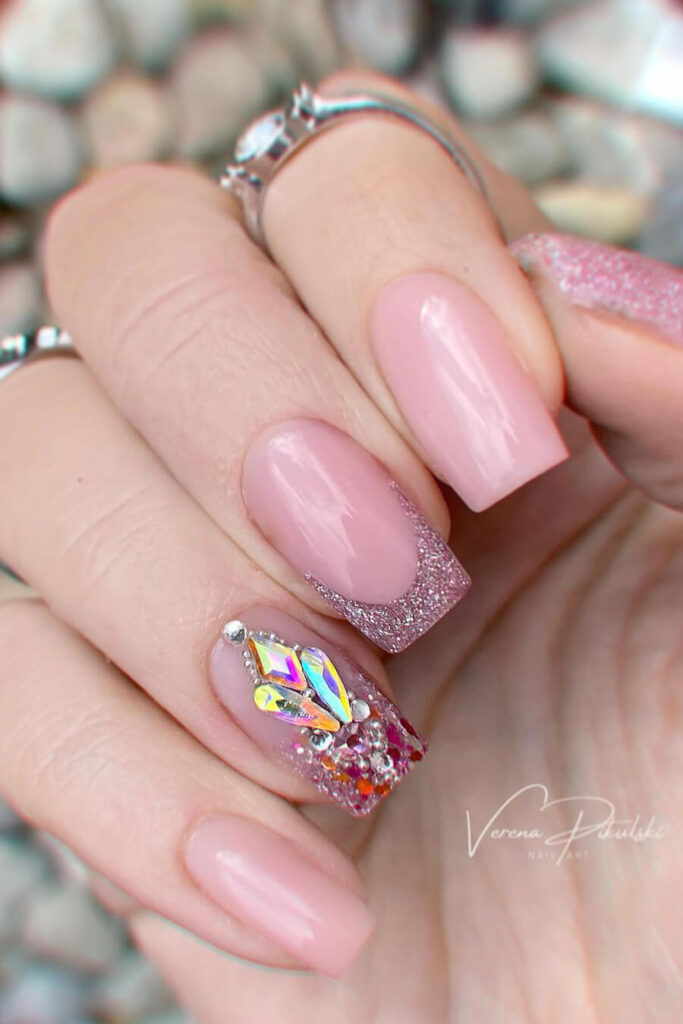 Vintage rose square nails