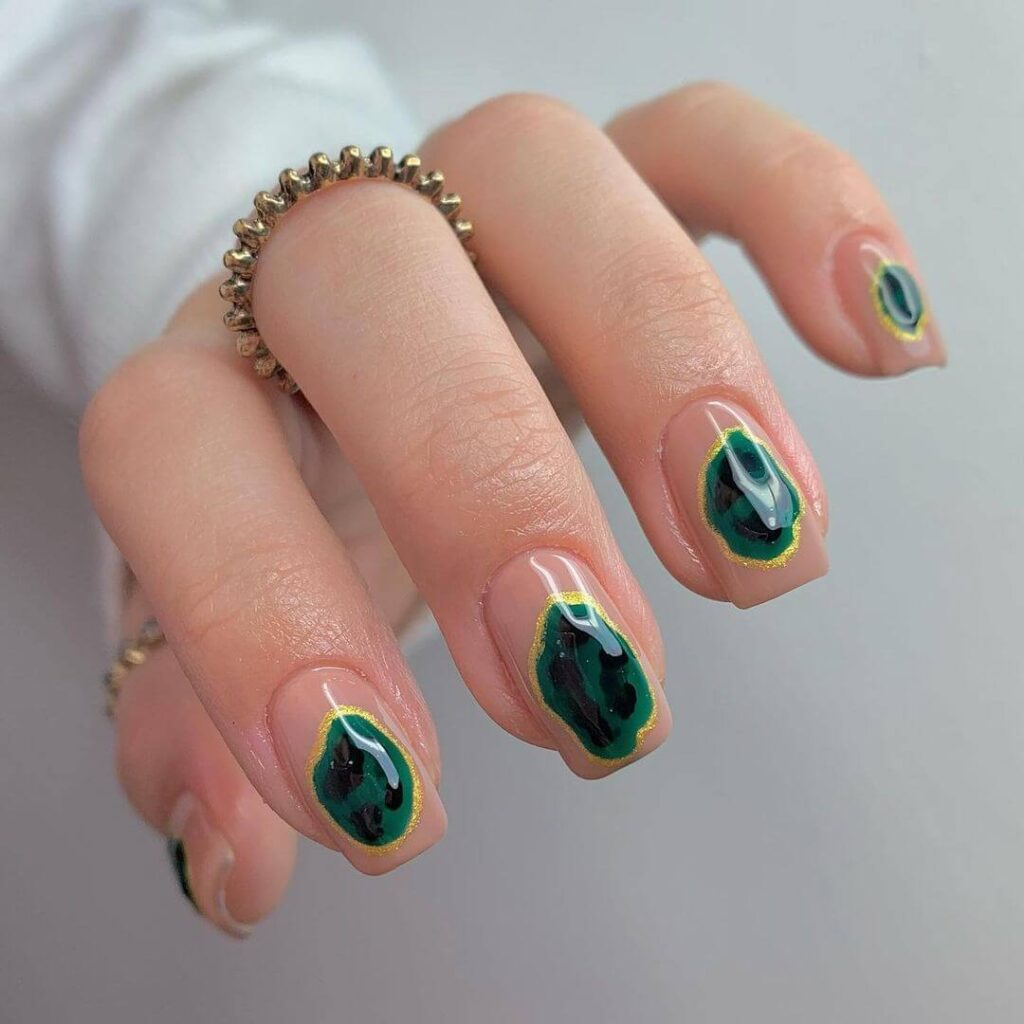 Green gem square nails
