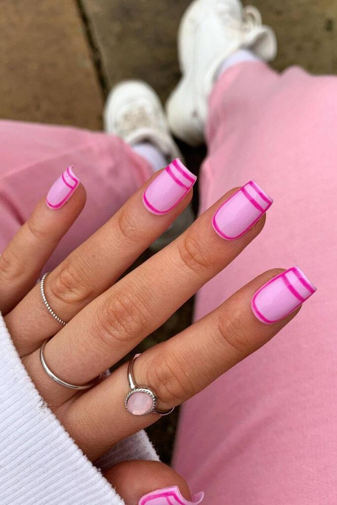 Pink square nails