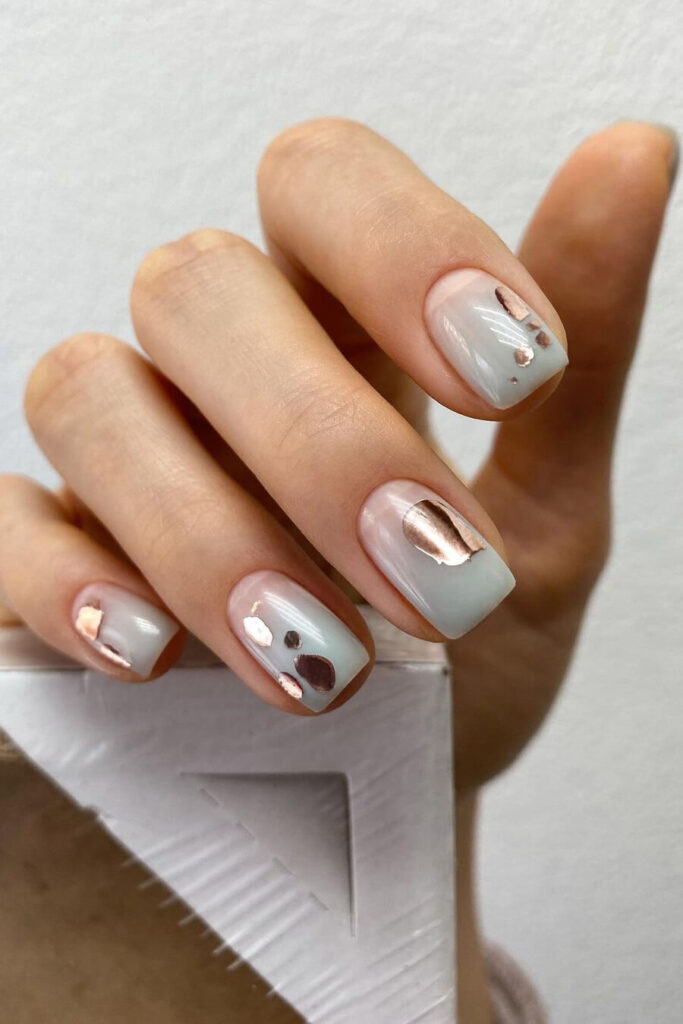 Grey square nails
