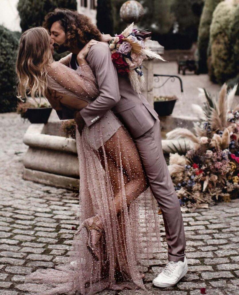Shiny wedding dress