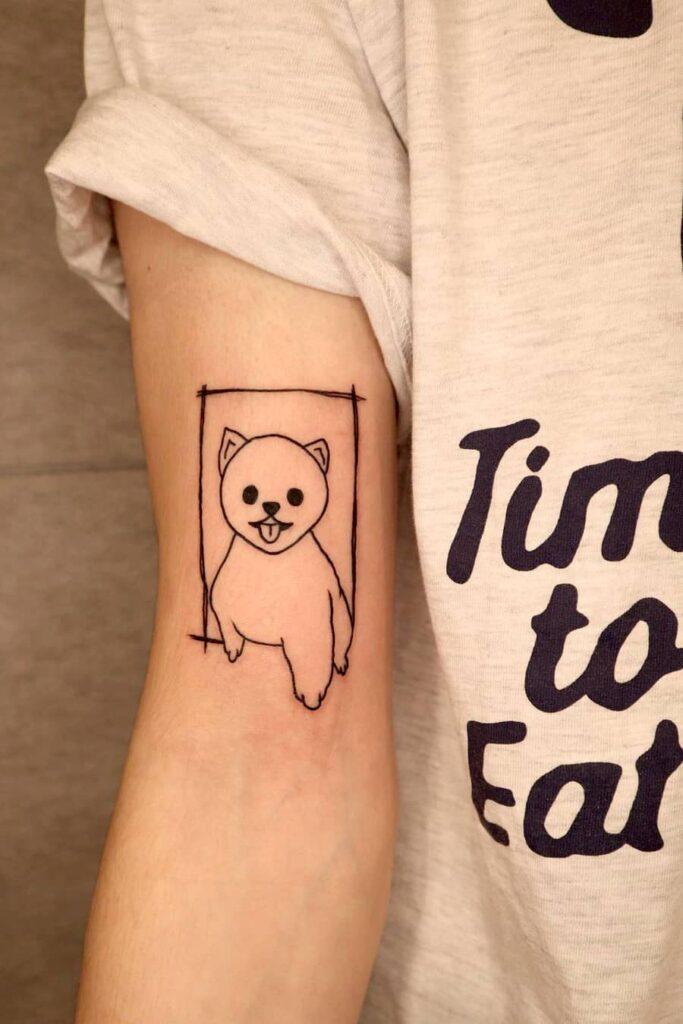 Pet portrait line tattoo