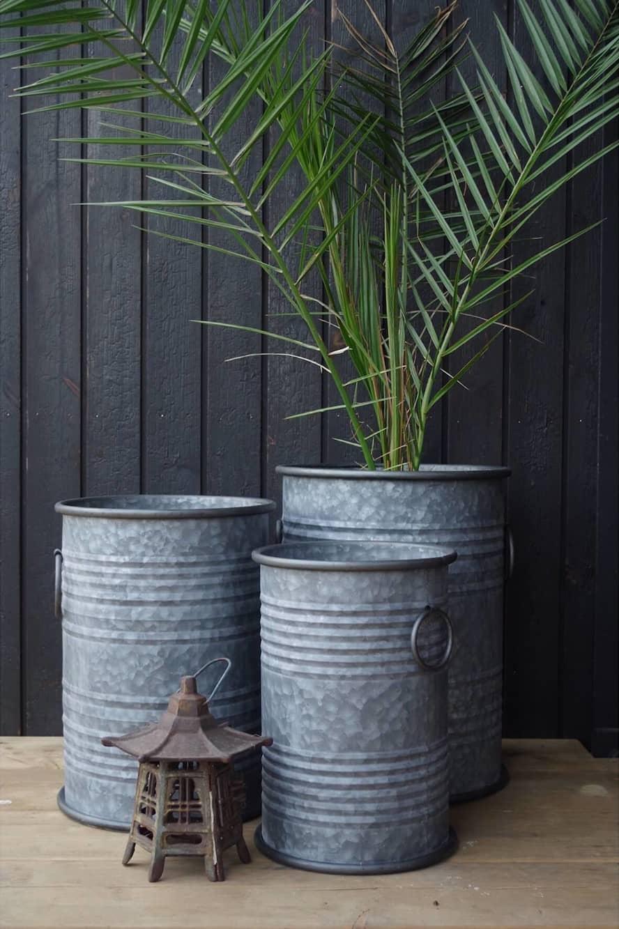 Galvanized flower pot