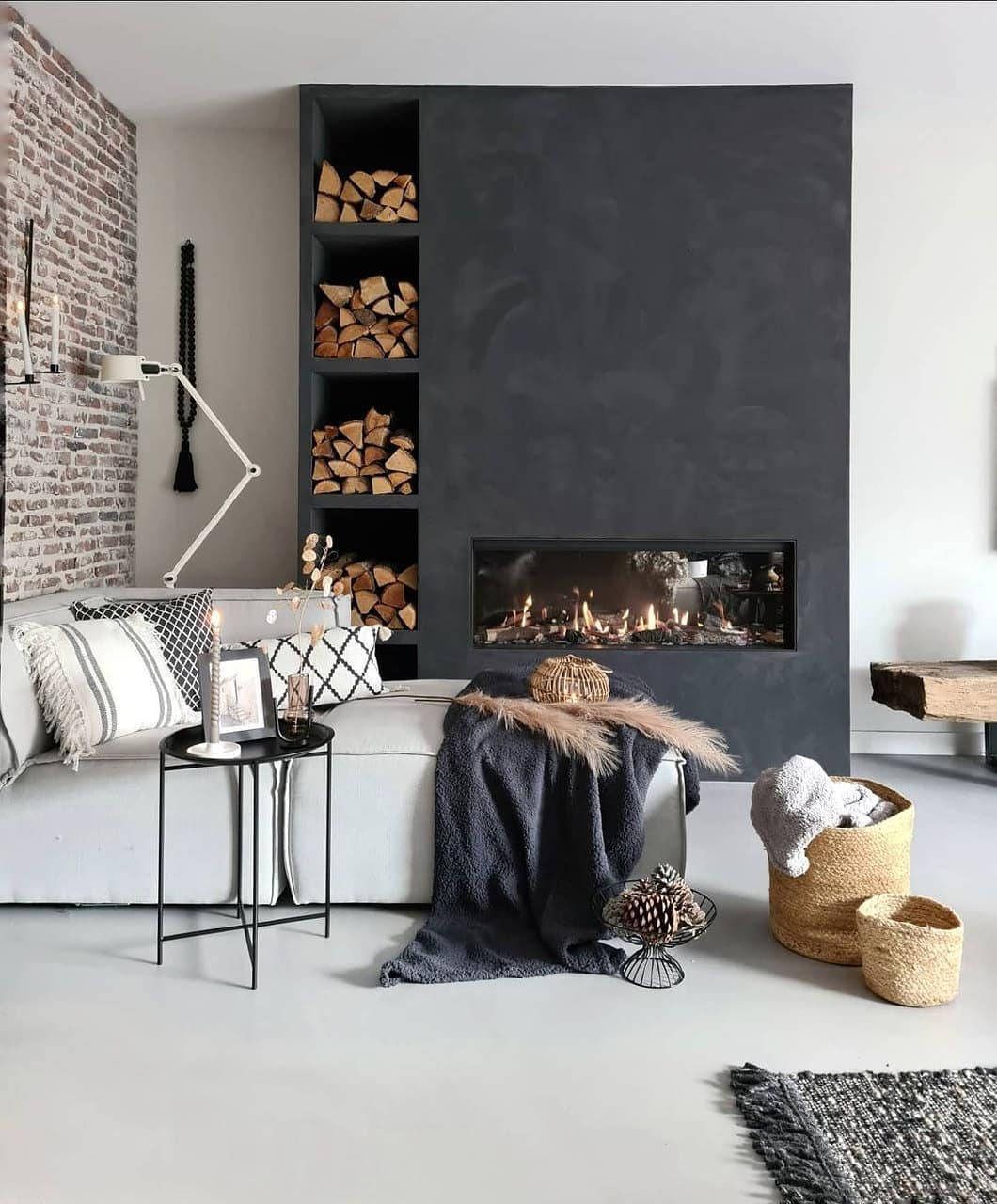 Fireplace industrial decor
