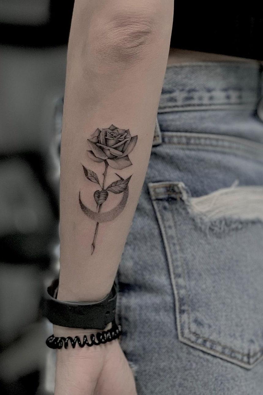 Moon rose tattoo