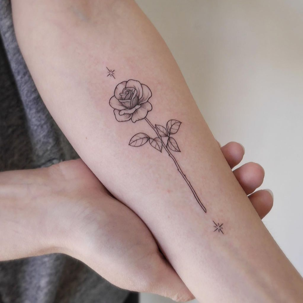 Stylish and simple rose tattoo
