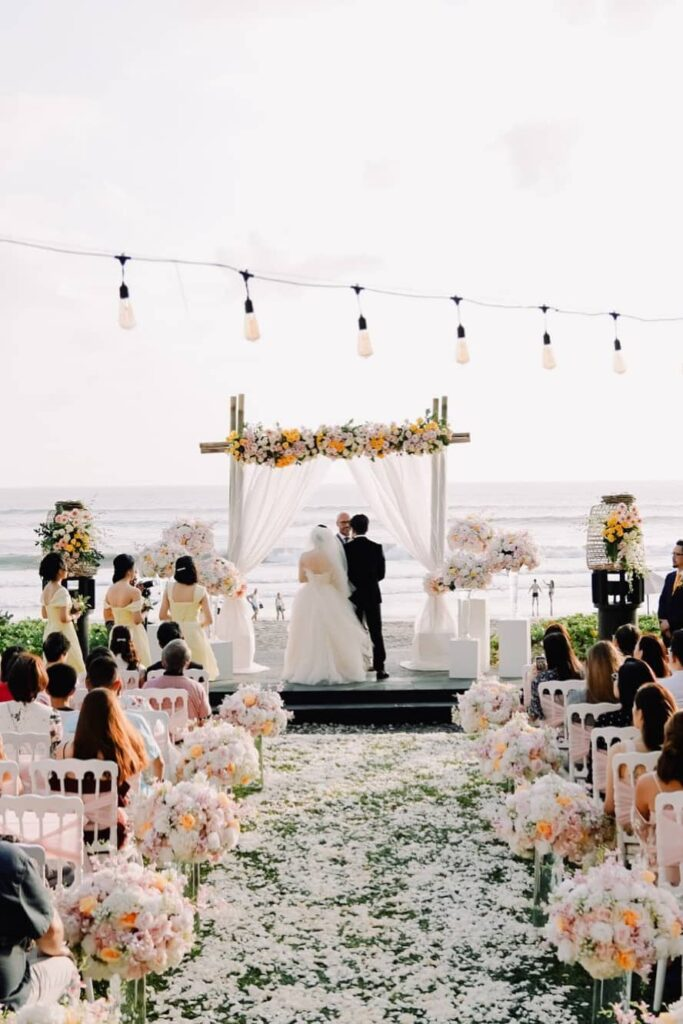 Floral beach wedding