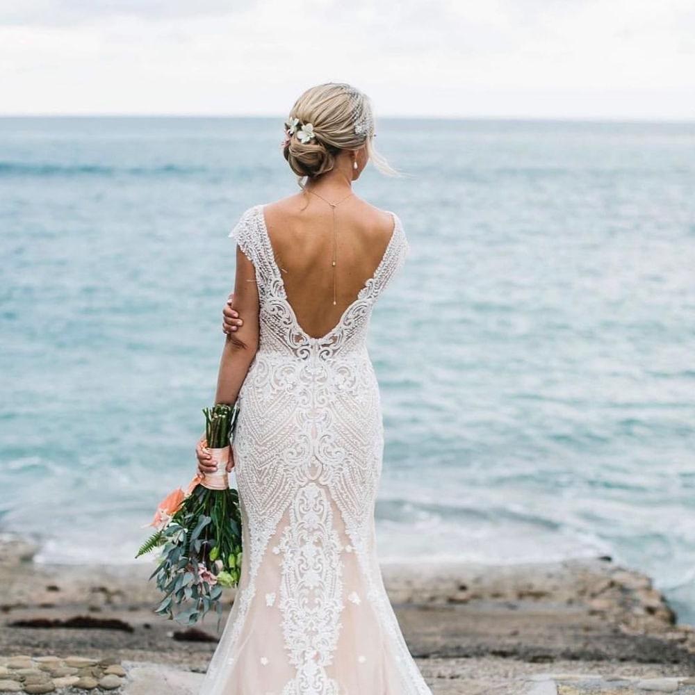 Bride's beach wedding look
