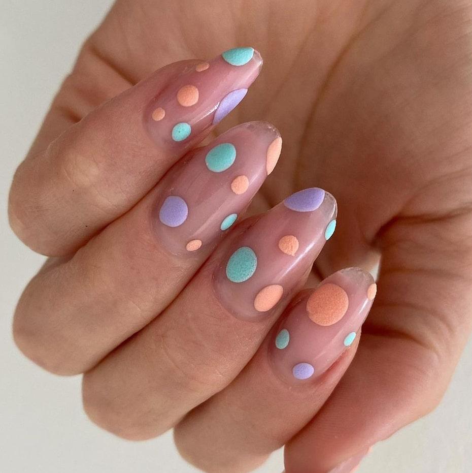 Colorful dots summer nails