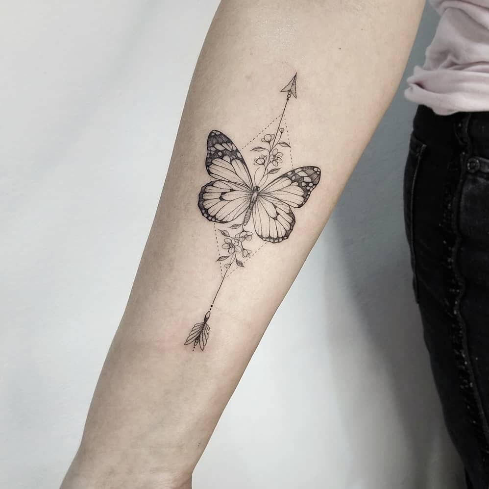 Butterfly arrow tattoo