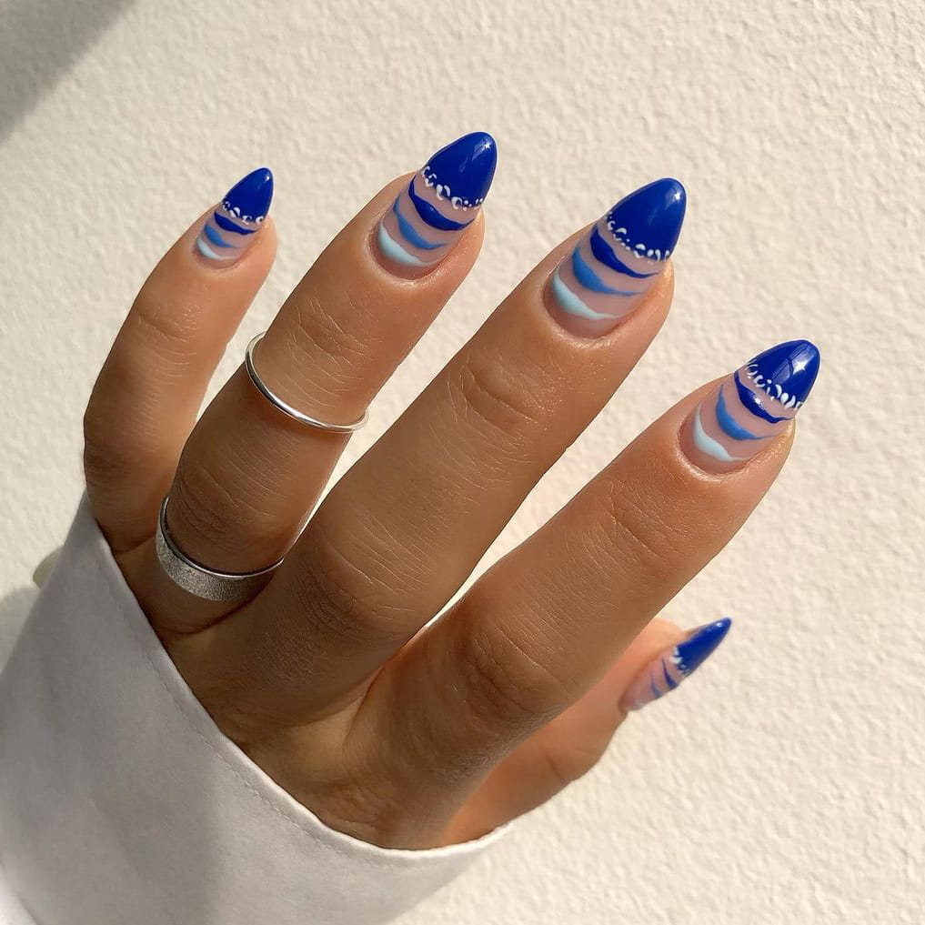 Blue gradient negative space nails