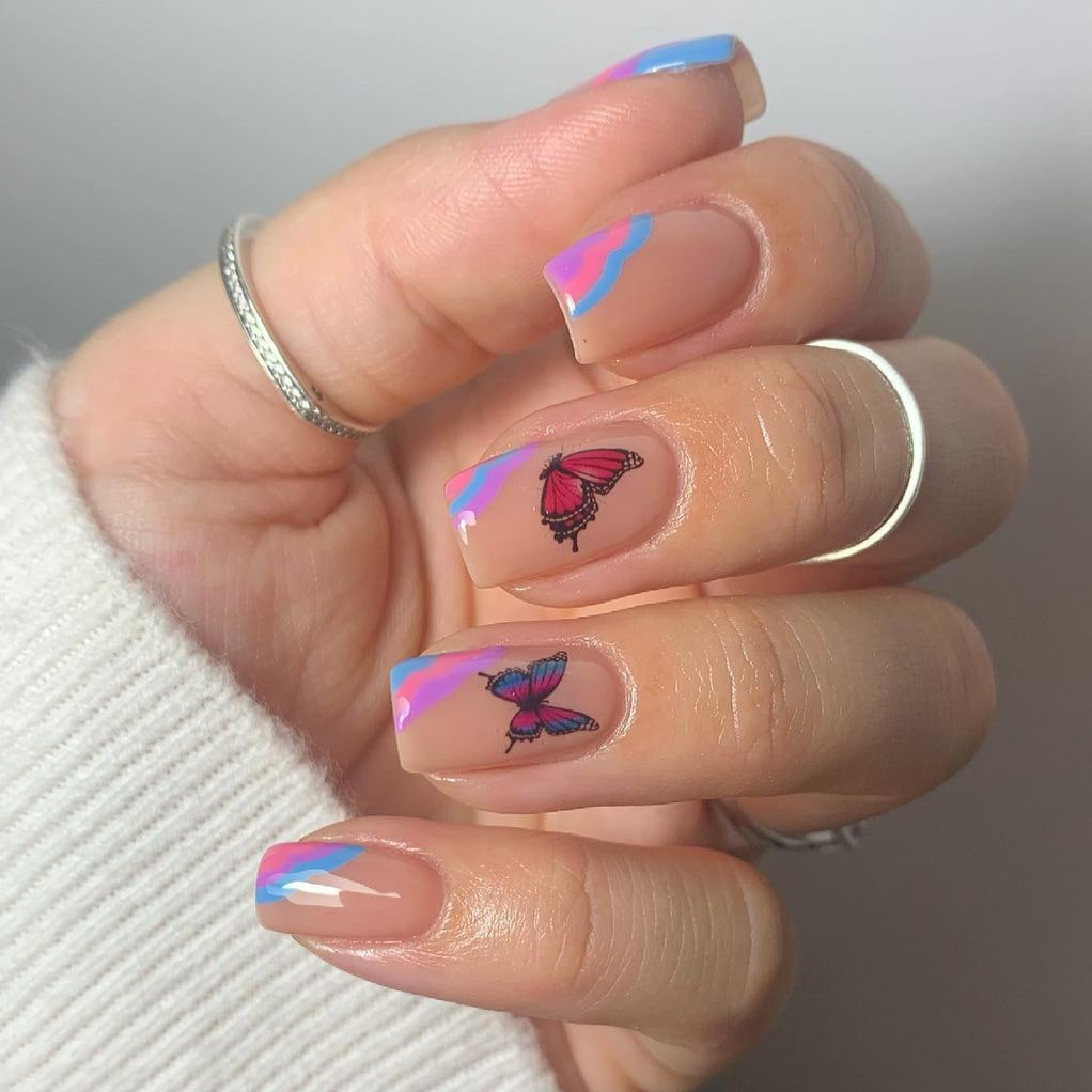 Butterfly Negative Space Short Nails