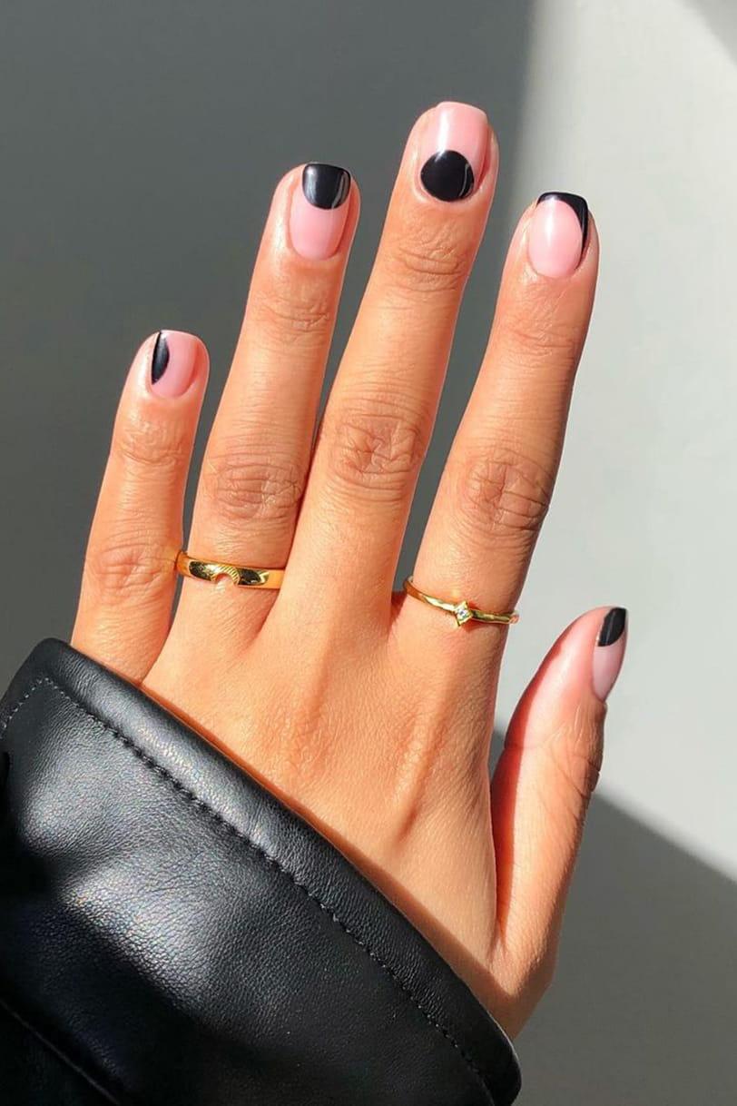 Cool black negative space nails