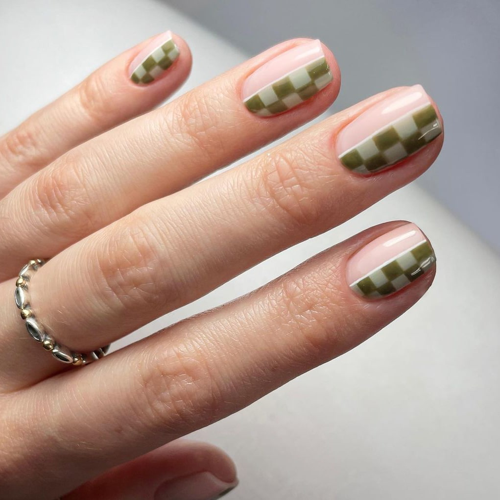 Green Checkerboard Negative Space Nails