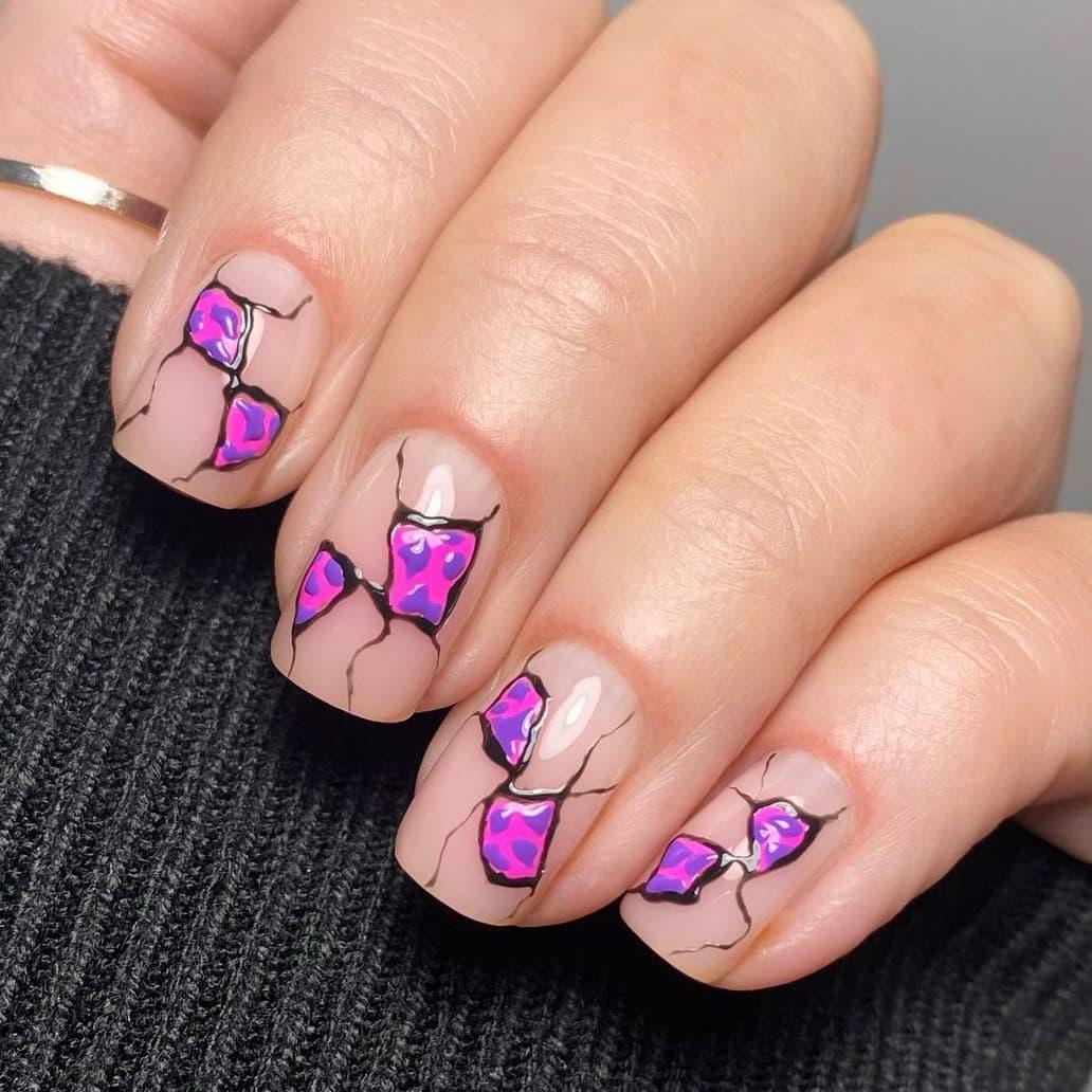 Animal print negative space nails