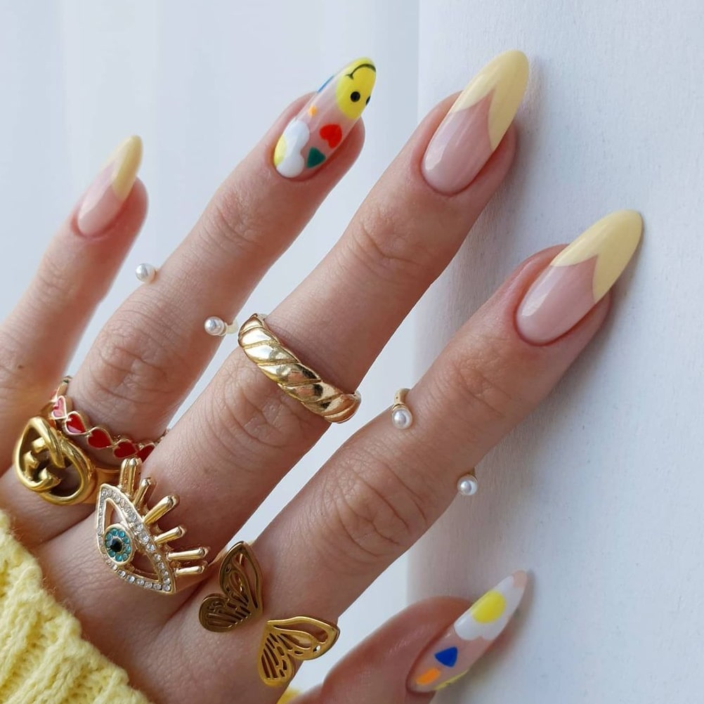 Yellow Negative Space Almond Nails