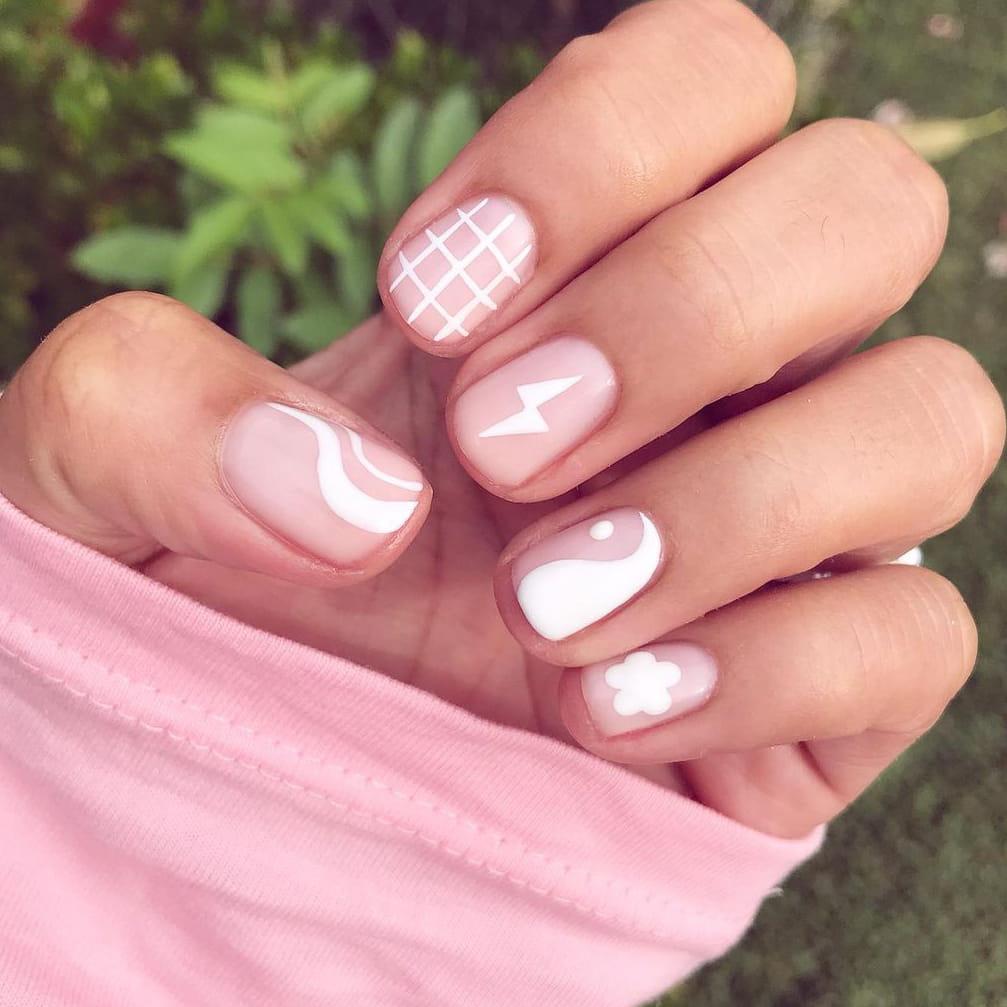 Fun white negative space nails