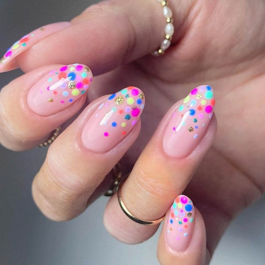 Colored dots negative space nails