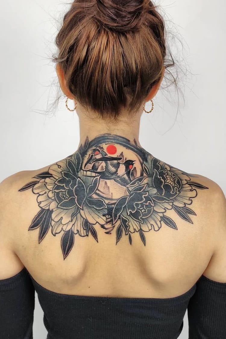 Eye-catching back tattoo