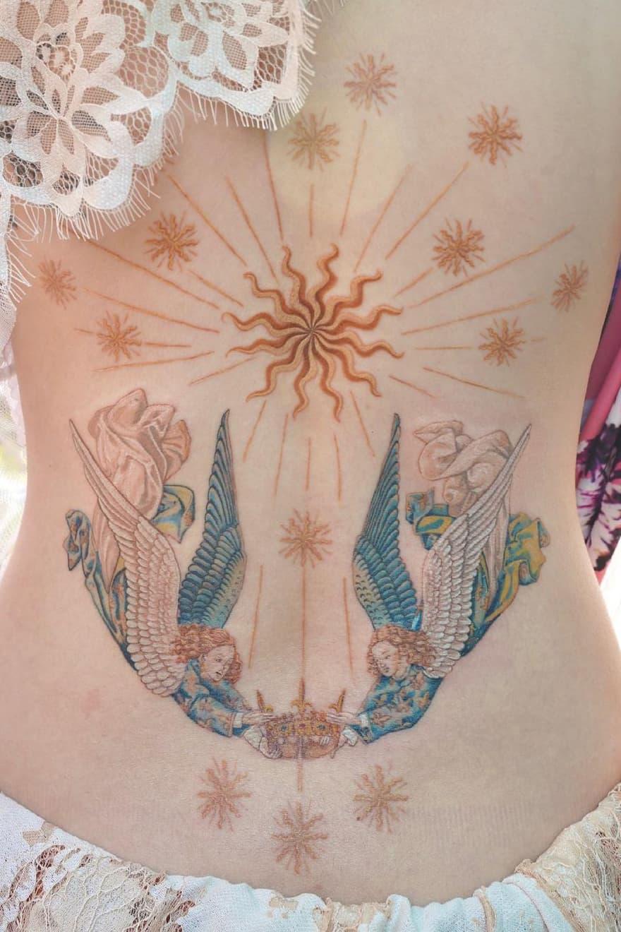 Delicate back tattoo