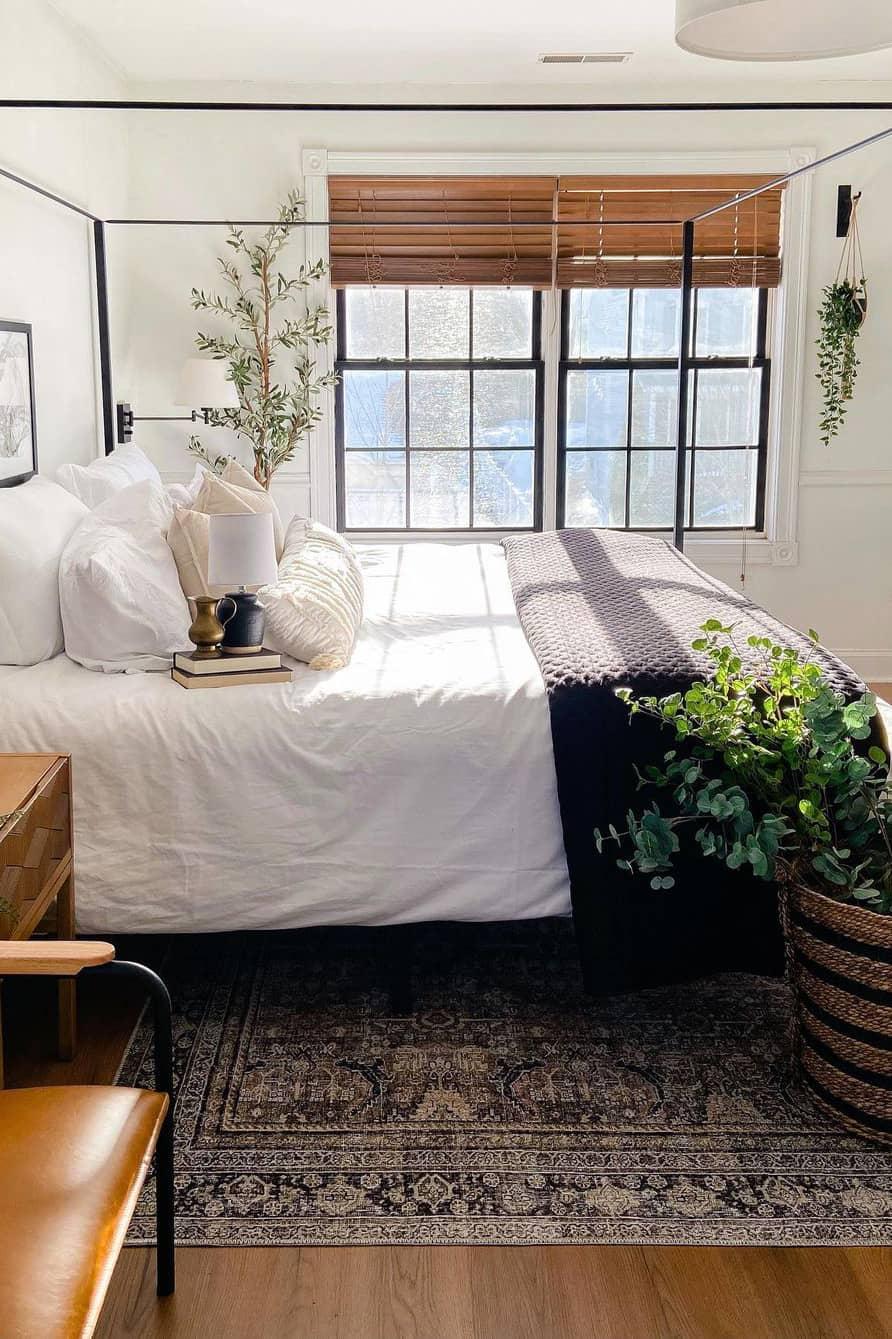 Modern bedroom like a garden