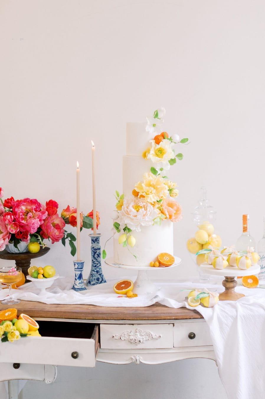 Summer wedding cake table