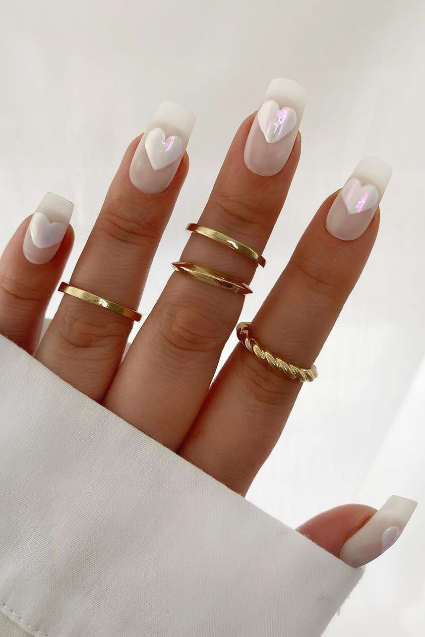 Heart white chrome nails