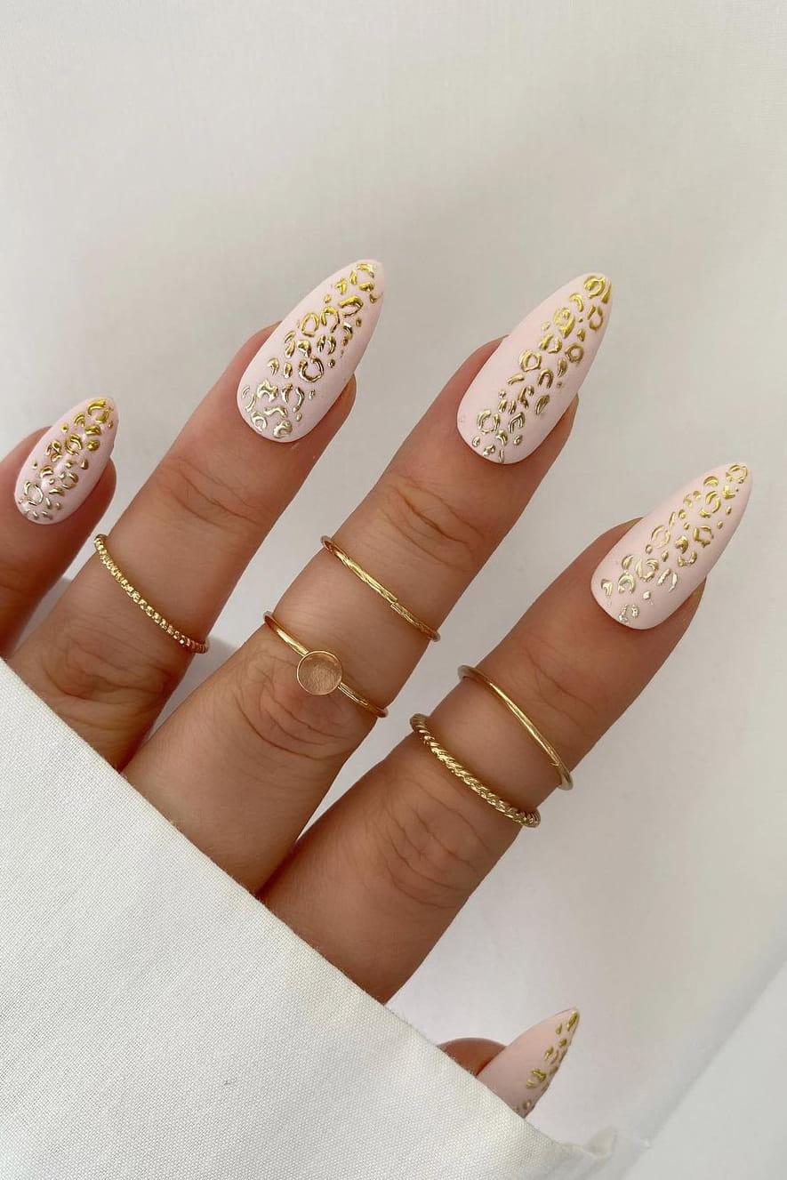 Leopard print chrome nails