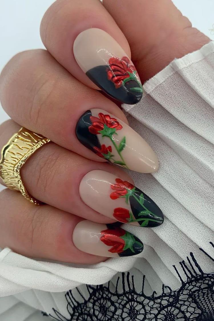 Floral chrome nails