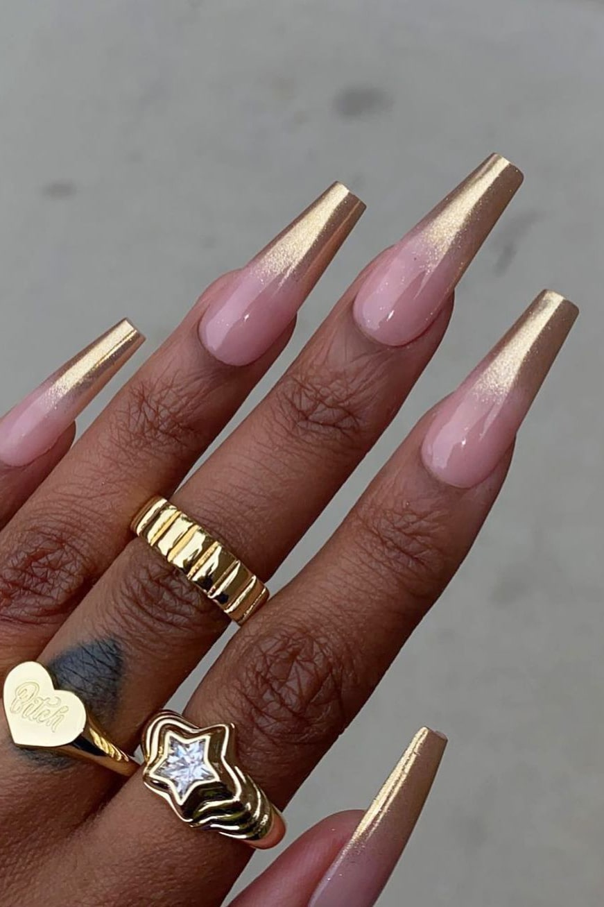 Long coffin chrome nails