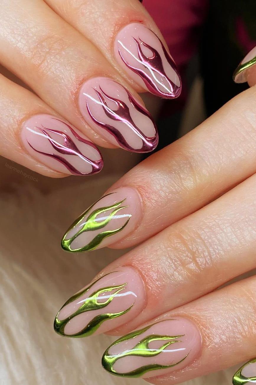 Flame chrome nails