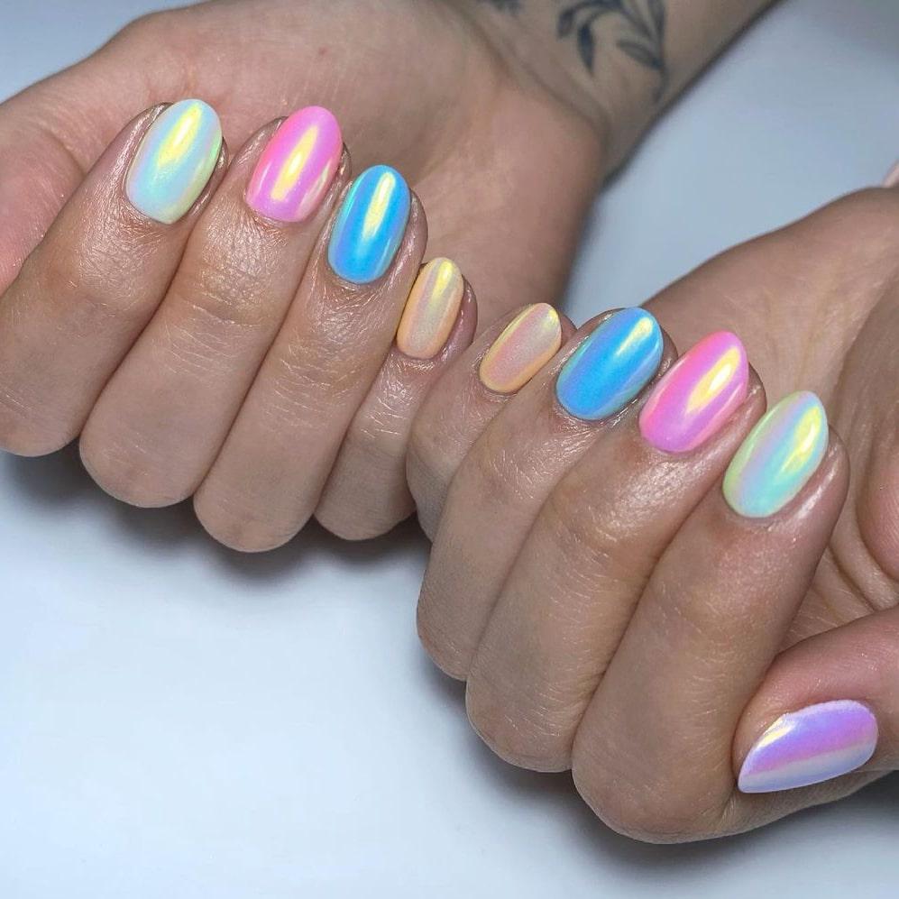 Soft rainbow chrome nails