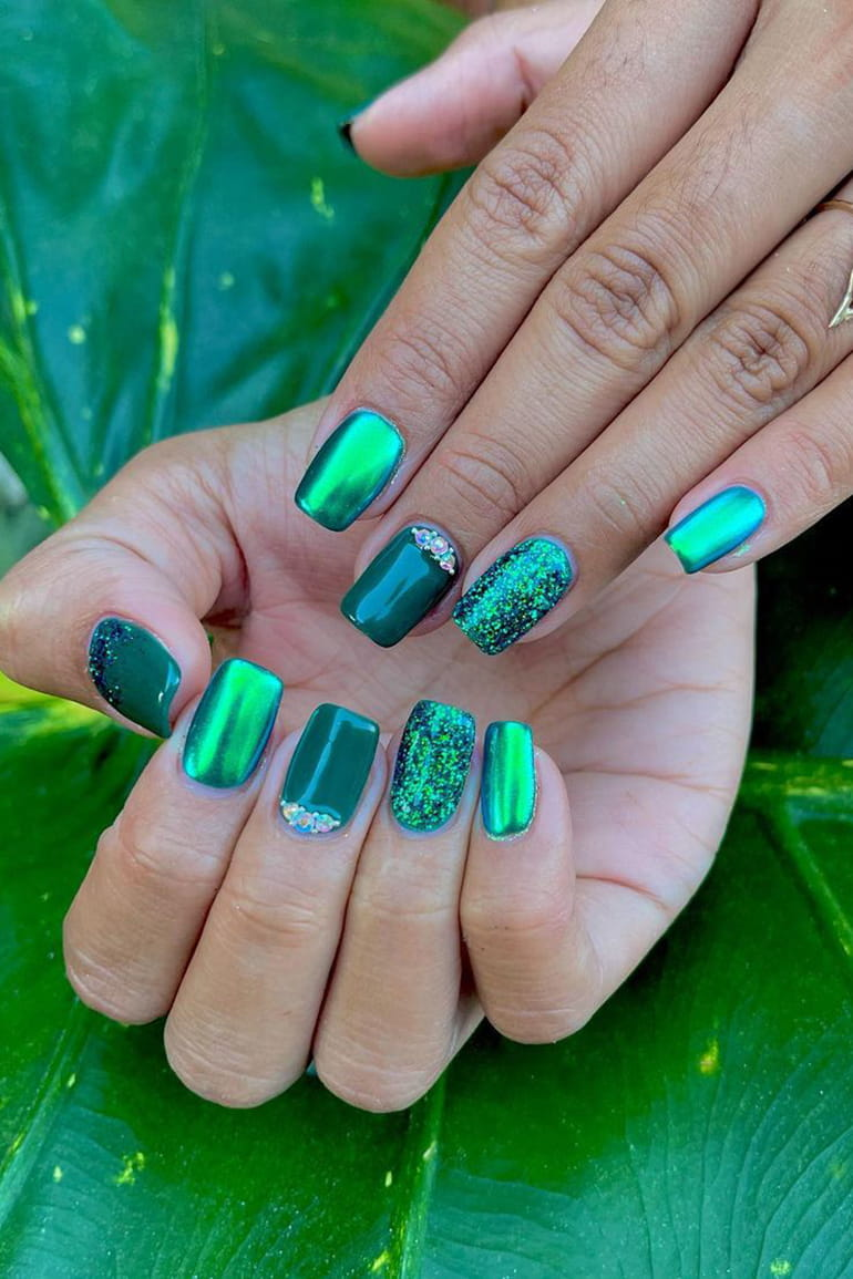 Bright green chrome nails