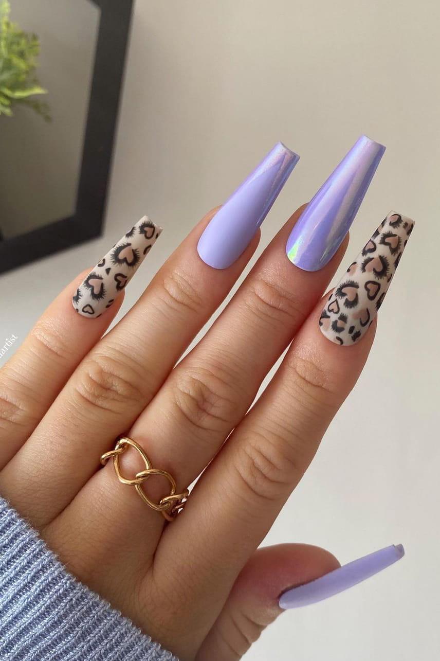 Purple and Leopard Chrome Nails