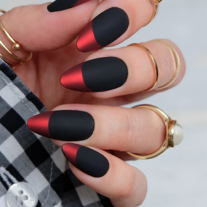 Red and black chrome nails