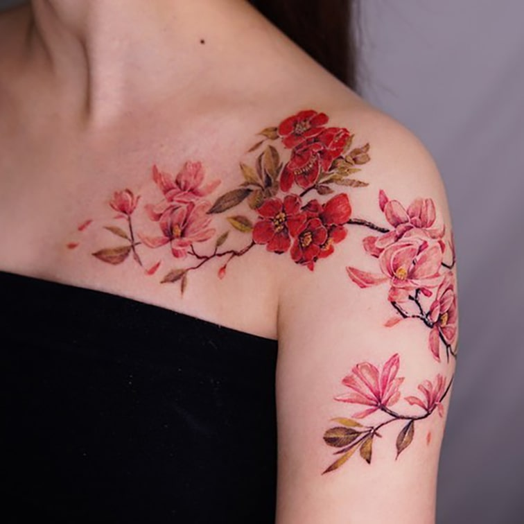 1/4 sleeve and collarbone tattoo