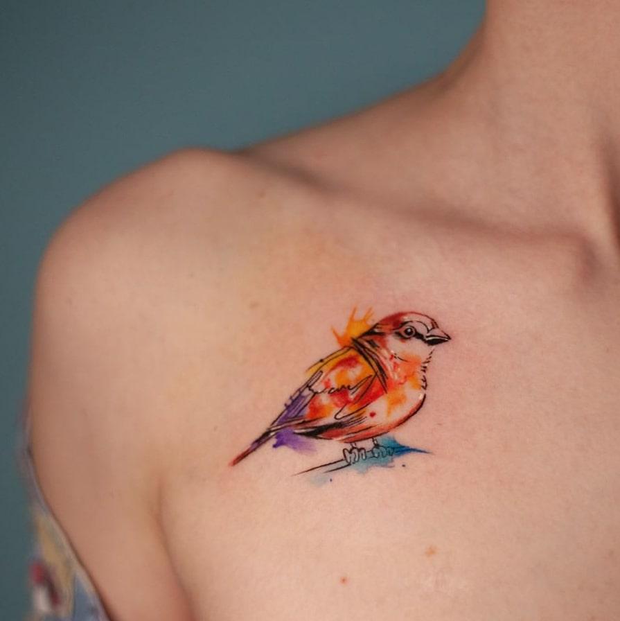 Bird collarbone tattoo