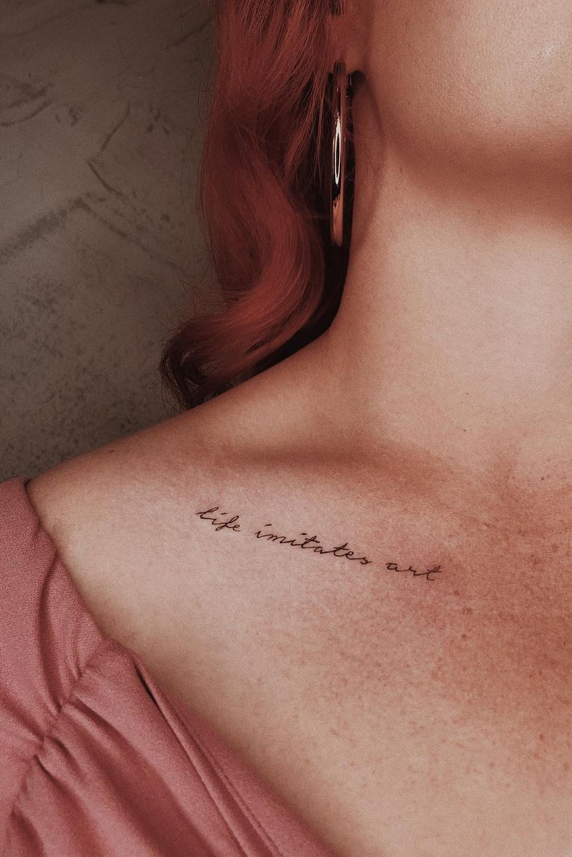 Quote collarbone tattoo