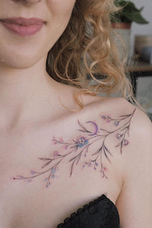 Branch collarbone tattoo